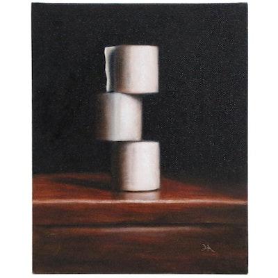 """Houra Alghizzi Still Life Oil Painting """"Three Rolls"""""""