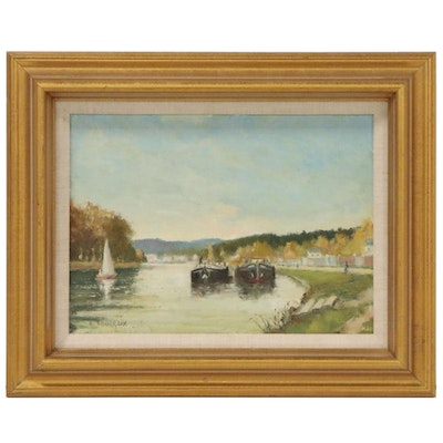 "B. Tourraix Impressionist Style Oil Painting ""The Barges at Samois"""