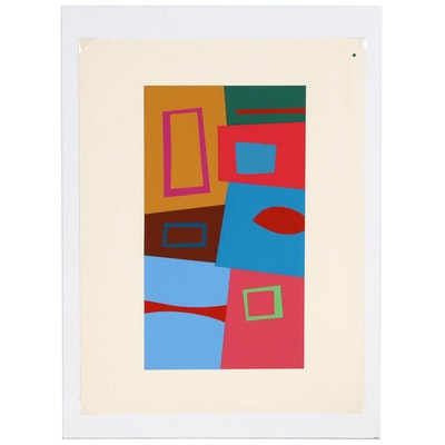 "Josef Albers Abstract Geometric Serigraph from ""Interaction of Color"""