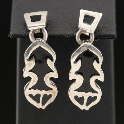 Mexican Sterling Enamel Drop Earrings
