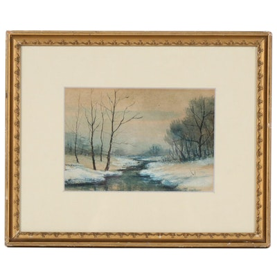 Winter Creek Landscape Gouache Painting with Ink, Early 20th Century