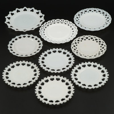 "Westmoreland ""Forget Me Knot"", ""Wicker"" and Other Milk Glass Plates, Mid-20th C."