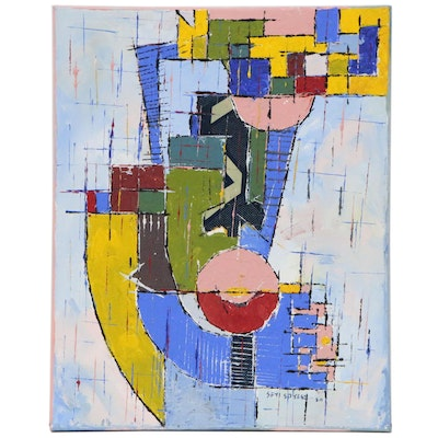 """Oluseyi Soyege Abstract Mixed Media Painting """"Happy Face"""""""