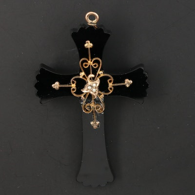 Victorian Pearl and Glass Mourning Cross Pendant