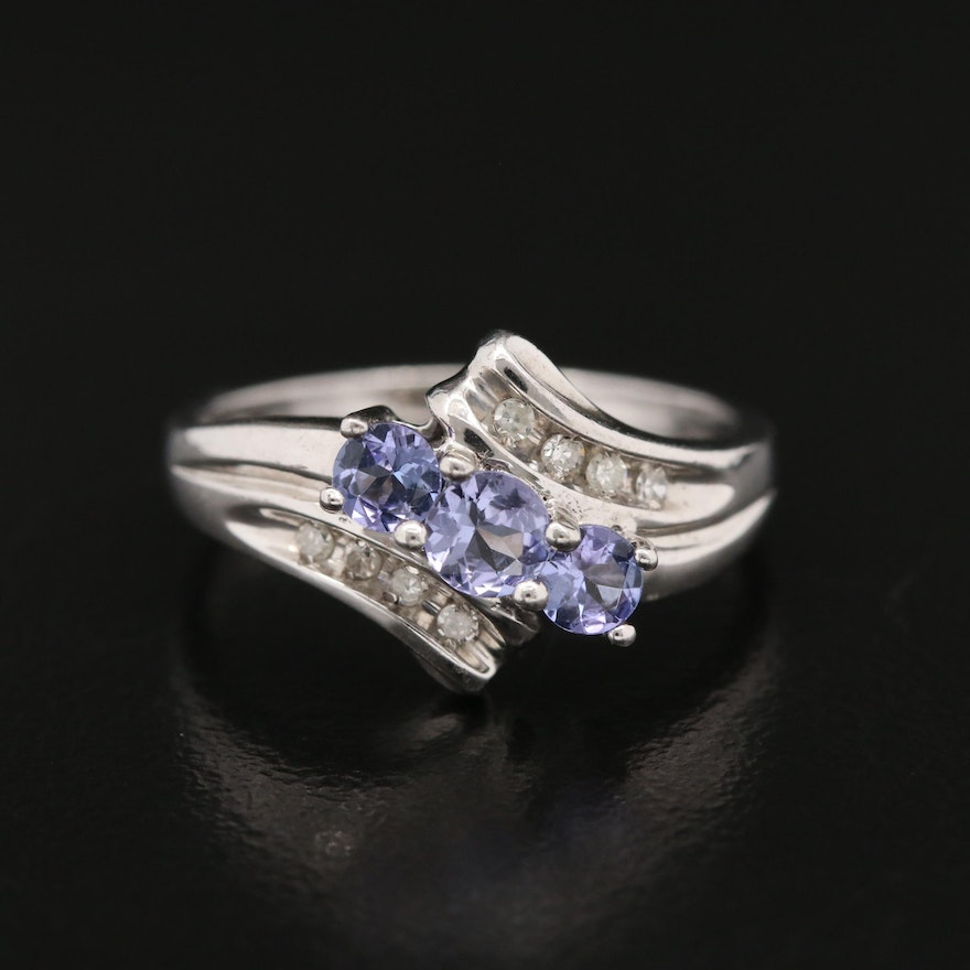 Sterling Silver Tanzanite and Diamond Bypass Ring