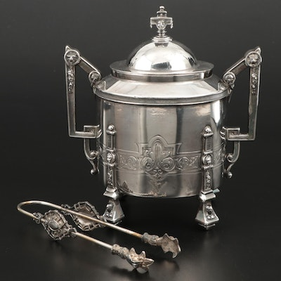 Reed & Barton Silver Plate Lidded Sugar and Sugar Tongs, Late 19th Century