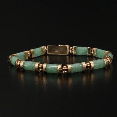 14K Jadeite Bar Panel Bracelet