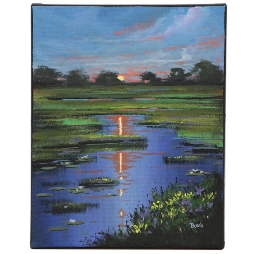 """Douglas """"Bumo"""" Johnpeer Landscape Oil Painting """"Marsh Sunrise"""", 2020"""