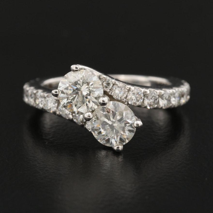 14K 2.01 CTW Diamond Bypass Ring