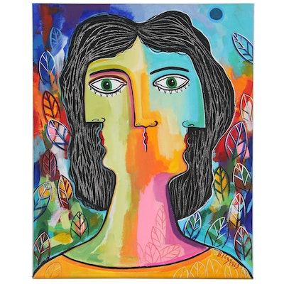 "Michel Blázquez Cubist Style Portrait Acrylic Painting ""Women in the Garden"""