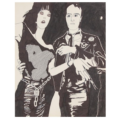 Robert W. Hasselhoff Abstract Figural Ink Drawing, Late 20th Century