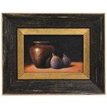 """Houra H. Alghizzi Still Life Oil Painting """"Figs and Bronze Vase"""""""