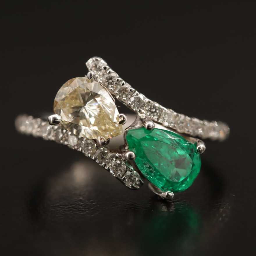 14K and 18K 1.10 CTW Diamond and Emerald Bypass Ring