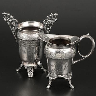 Meriden Britannia Silver Plate Vase and Homan Silver Plate Creamer