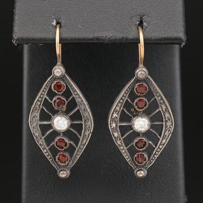 Sterling Silver Garnet and Cubic Zirconia Drop Earrings