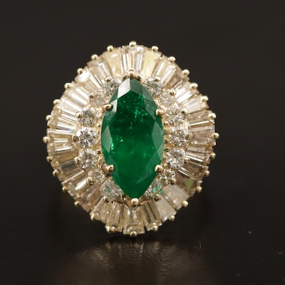 14K 2.84 CT Colombian Emerald and 3.14 CTW Diamond Ring with GIA Report