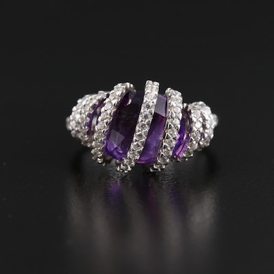 Elle Sterling Silver Amethyst and Cubic Zirconia Spiral Motif Ring