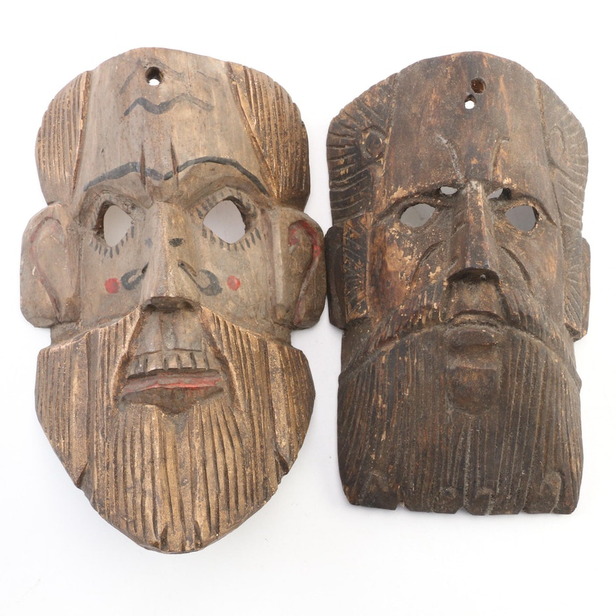 Hand-Carved Wooden Hanging Masks Wall Décor, Mid-20th Century