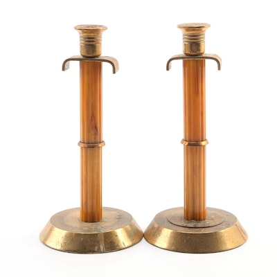Pair of Art Deco Carmel Bakelite and Brass Candlesticks, Early 20th Century