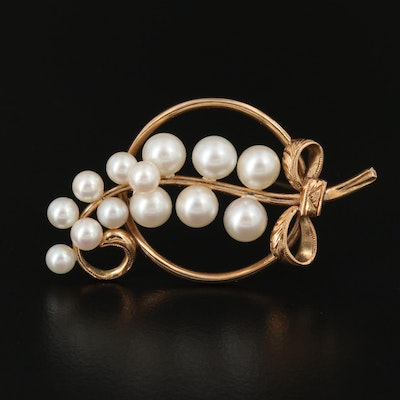 Vintage 14K Pearl Grape Cluster Brooch