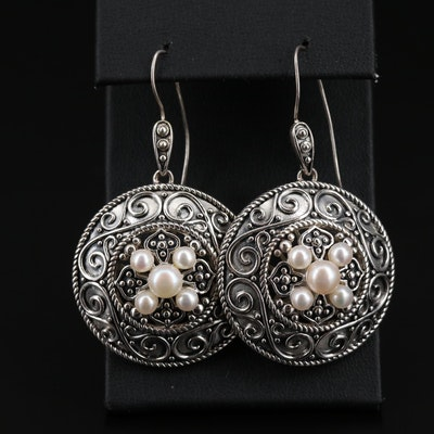 Sterling Silver Pearl Medallion Style Dangle Earrings