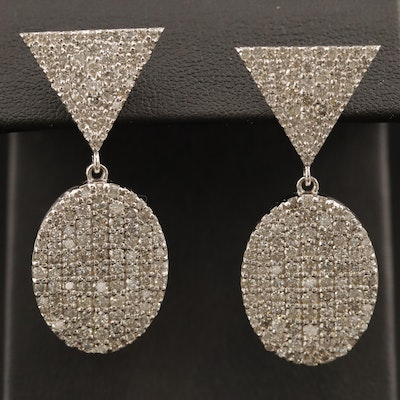 10K 5.01 CTW Pavé Diamond Drop Earrings