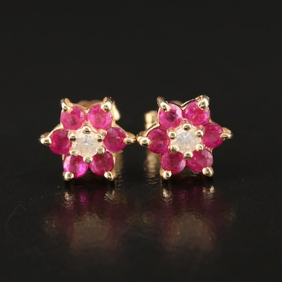 14K Ruby and Diamond Flower Stud Earrings