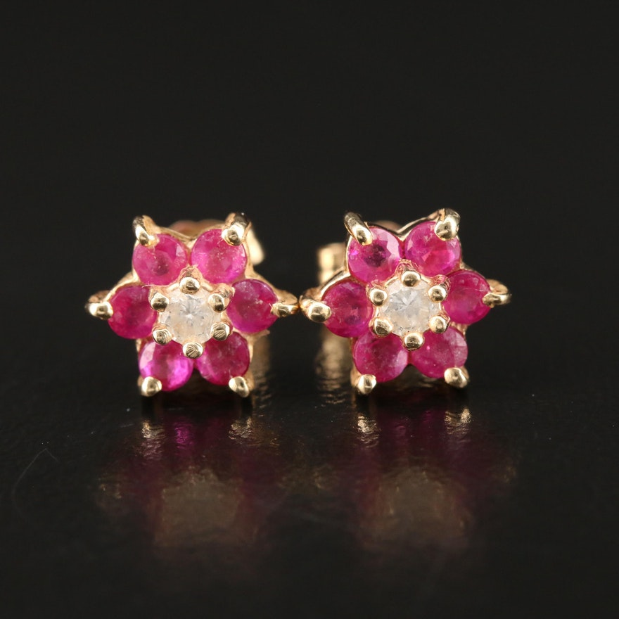 14K Ruby and Diamond Flower Stud Earrings