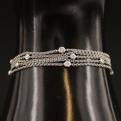 14K Multi-Strand Diamond Station Bracelet