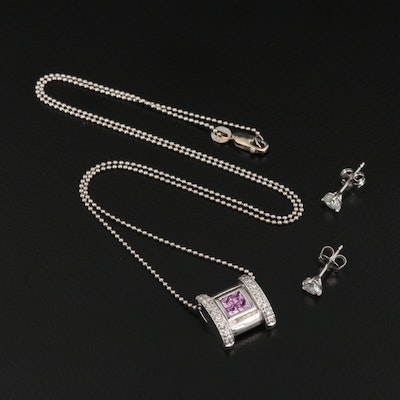 14K 0.44 CTW Diamond Stud Earrings with Pink Sapphire and Diamond Necklace