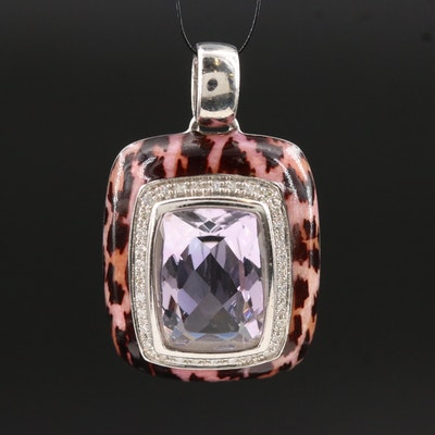Sterling Silver Amethyst and Diamond Leopard Print Pendant
