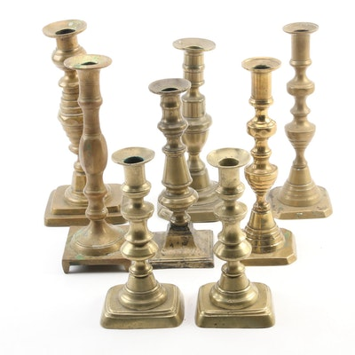 Pairs and Individual Brass Candlesticks, Mid to Late 20th Century
