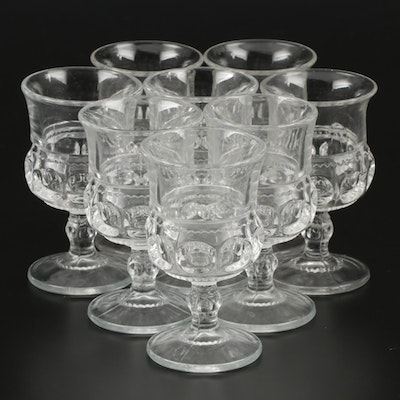 """Tiffin-Franciscan """"King's Crown"""" Pressed Glass Wine Goblets, 1943–1962"""
