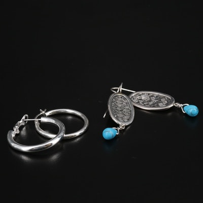 Sterling Silver Turquoise Woven Dangle and Hoop Earrings