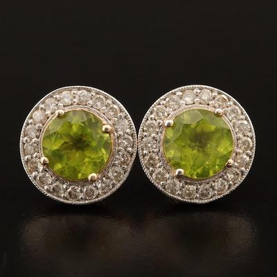 14K Peridot Earrings with 1.26 CTW Diamond Halo