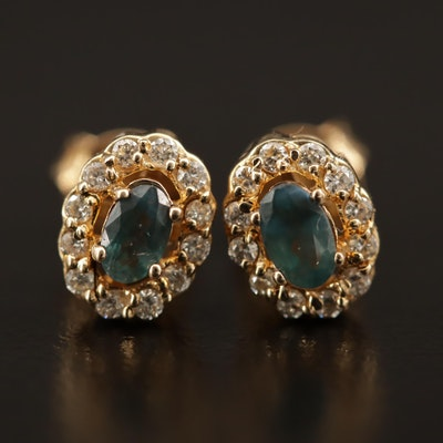 14K Alexandrite Earrings with Diamond Halo