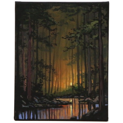 "Douglas ""Bumo"" Johnpeer Landscape Oil Painting ""Pine Forest"", 2020"