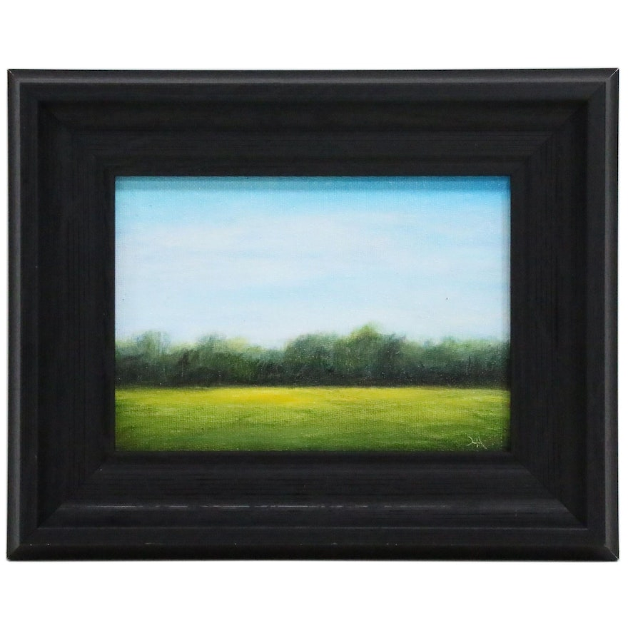 """Houra Alghizzi Landscape Oil Painting """"Summer Field"""""""
