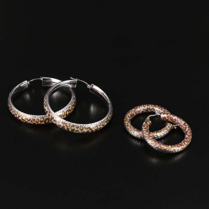 Sterling Silver Leopard Print Hoop Earrings