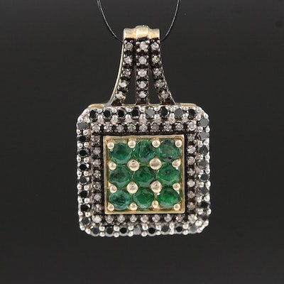 Sterling Silver Emerald and Diamond Pendant