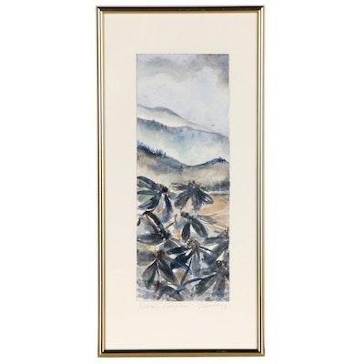 "Susan Lingg Watercolor Painting ""Winter's Evergreen"""