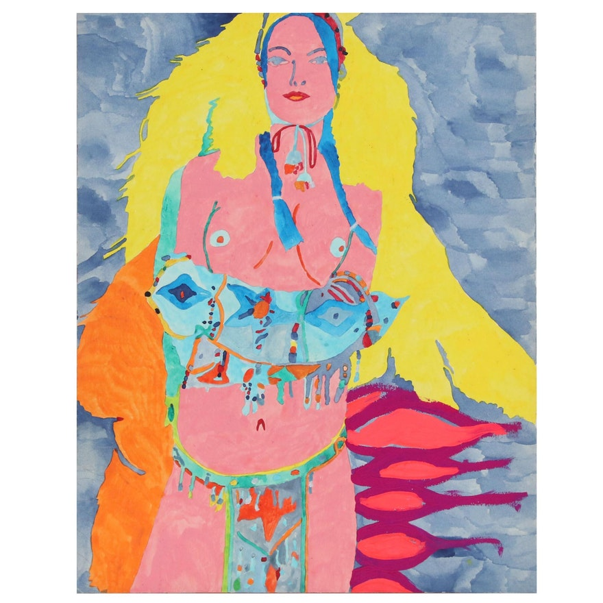 Robert W. Hasselhoff Figural Mixed Media Painting of Partially Nude Figure