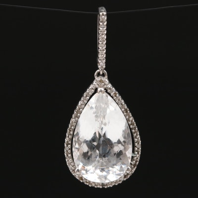 Sterling Silver Rock Crystal Quartz and Diamond Teardrop Pendant