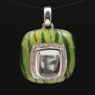Sterling Silver Prasiolite and Diamond Pendant with Watermelon Print Enameling