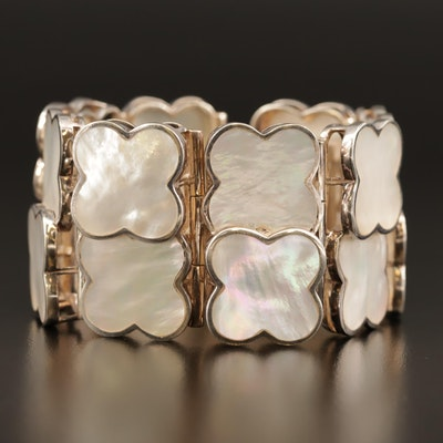 Barry Brinker 950 Silver Mother of Pearl Quatrefoil Link Bracelet