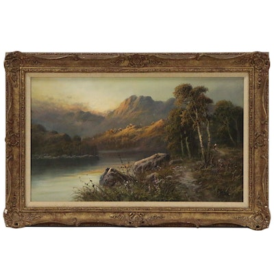 Frank Hider Landscape Oil Painting of Mountain Scene