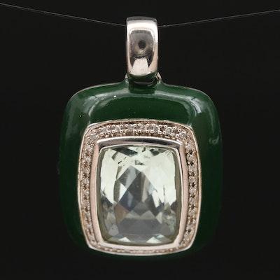 Sterling Silver Prasiolite, Diamond Pendant with Green Enamel Border