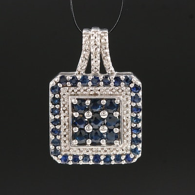 Sterling Silver Sapphire and Diamond Pendant