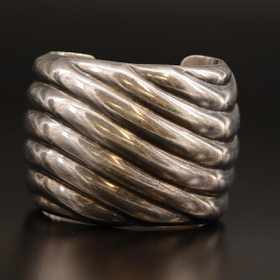 Italian Sterling Silver Fluted Cuff