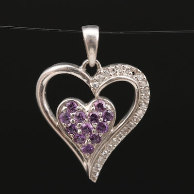 Sterling Silver Amethyst and Diamond Heart Pendant